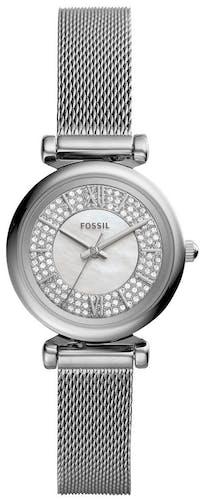 Cette montre FOSSIL se compose d'un boîtier Rond de 28 mm et d'un bracelet en Acier Gris