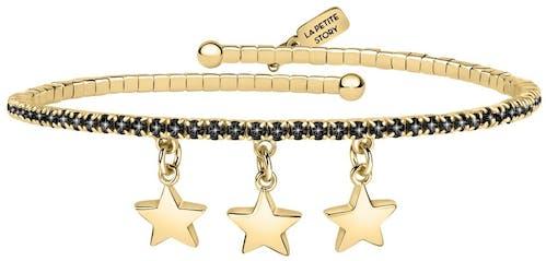 Ce Bracelet LA PETITE STORY est en Acier Jaune et Cristal Noir en forme d'Etoiles