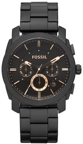 Cette montre FOSSIL se compose d'un boîtier Rond de 42 mm et d'un bracelet en Acier Noir