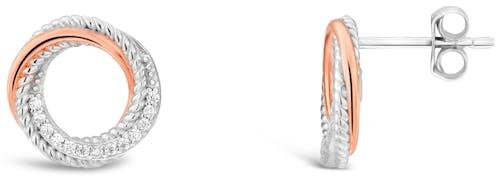 Ces Boucles d'oreilles ROSELINE sont en Argent 925/1000 Bicolore et Oxyde