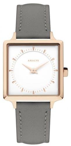 Cette Montre pour Femme AMALYS se compose d'un Boîtier Carré de 25 mm et d'un Bracelet en Cuir Gris