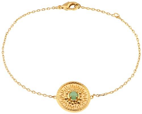 Ce Bracelet YUCATÁN est en Plaqué Or et Aventurine