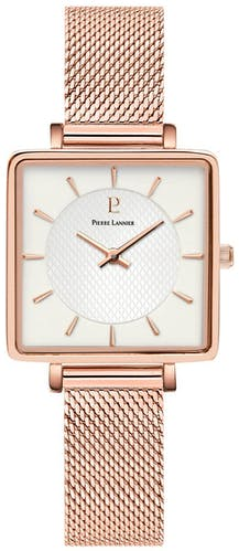 Cette montre PIERRE LANNIER se compose d'un boîtier Carré de 30 mm x 30 mm et d'un bracelet en Acier Rose
