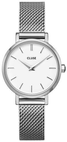 Cette Montre pour Femme CLUSE BOHO CHIC PETITE se compose d'un Boîtier Rond de 28 mm et d'un Bracelet en Acier Blanc