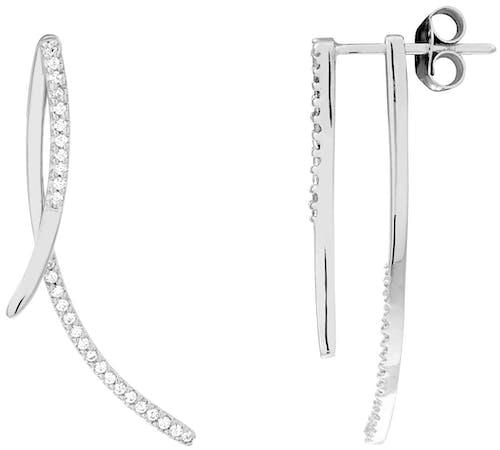 Boucles d'oreilles CLEOR en Argent 925/1000 Blanc et Oxyde