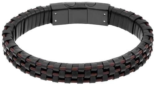 Bracelet ZEPHYR en Acier Noir et Cuir Noir