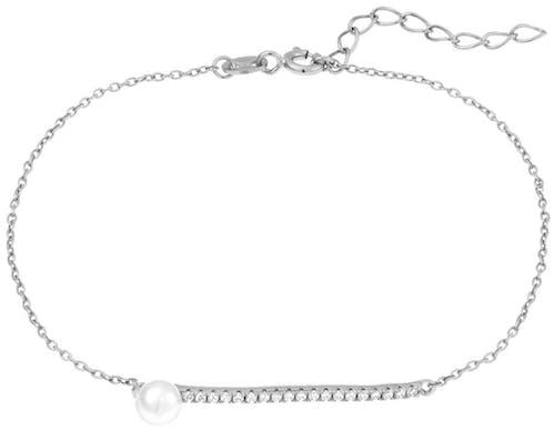 Ce Bracelet PERLE DE NUIT est en Argent 925/1000 et Perle de culture Blanche