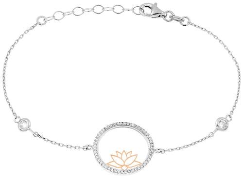 e Bracelet CLEOR est en Argent 925/1000 Bicolore et Oxyde Blanc