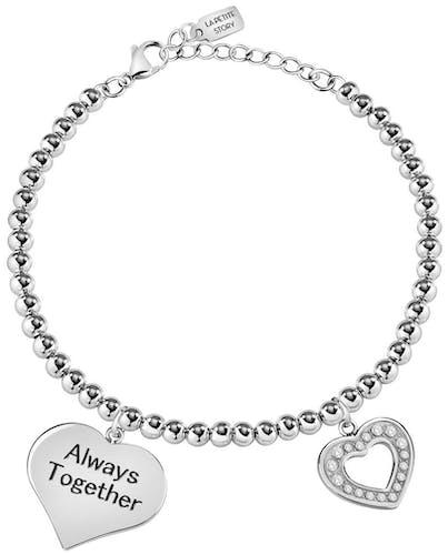 Ce Bracelet LA PETITE STORY est en Acier et Cristal en forme de Cœur