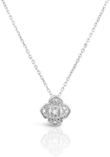 Ce Collier CLEOR est en Or 375/1000 Blanc et Diamant en forme de Fleur