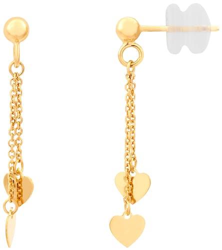 Ces Boucles d'oreilles CLEOR sont en Or 375/1000 Jaune en forme de Cœur