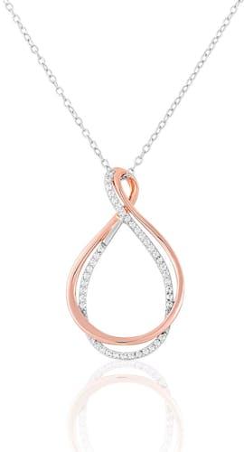 Ce Collier CLEOR en forme de Cœur est en Argent 925/1000 Bicolore et Oxyde