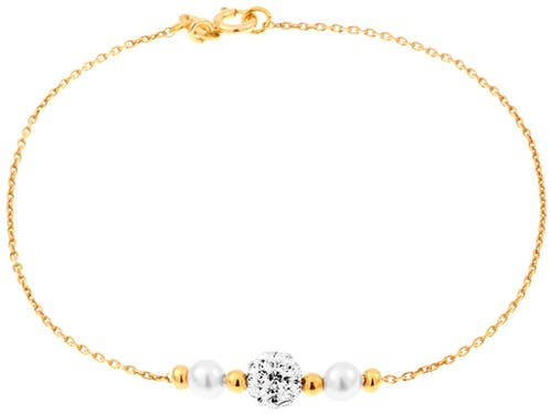 Ce Bracelet CLEOR est en Argent 925/1000 Jaune et Perle Synthétique Blanc