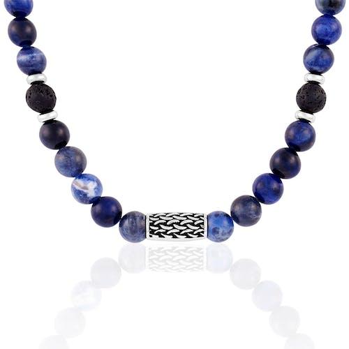 Collier LES HAUBANS en Acier et Sodalite Bleu