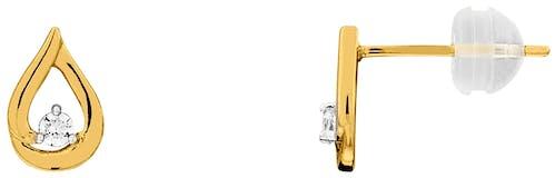 Ces Boucles d'oreilles CLEOR sont en Or 375/1000 Bicolore et Diamant