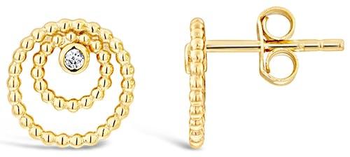 Boucles d'oreilles SOLIS en Argent 925/1000 Jaune et Oxyde
