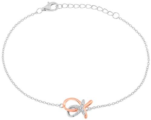 Ce Bracelet ROSELINE est en Argent 925/1000 Bicolore et Oxyde