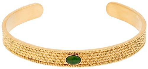 Ce Bracelet MISSISSIPI est en Acier Jaune et Aventurine Verte