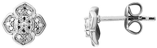 Ces Boucles d'oreilles CLEOR sont en Or 375/1000 Blanc et Diamant