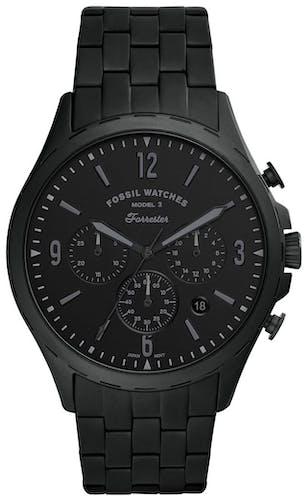 Cette montre FOSSIL se compose d'un boîtier Rond de 46 mm et d'un bracelet en Acier Noir