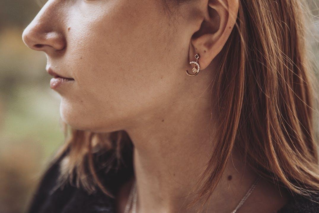 Boucles d'oreilles L'ADORÉE en Argent 925/1000 Jaune et Oxyde Marron