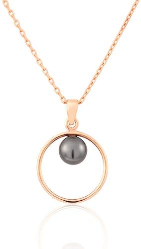 Ce Collier PERLE DE NUIT est en Argent 925/1000 Rose et Perle Blanc