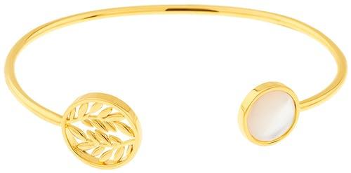 Ce Bracelet YUCATÁN en forme de Feuille est en Plaqué Or et Nacre