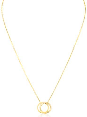 Ce Collier L'ADORÉE est en Argent 925/1000 Jaune et Oxyde Blanc