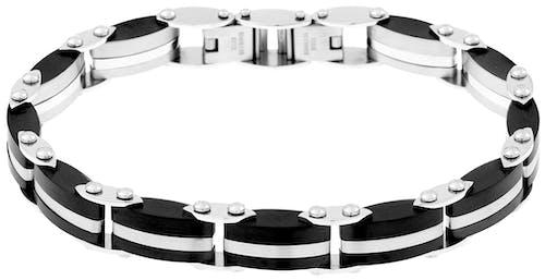 Ce Bracelet CLEOR est en Acier Bicolore