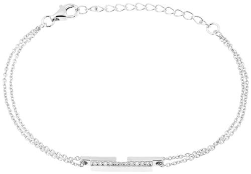 Bracelet SQUARE en Argent 925/1000 Blanc et Oxyde