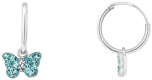 Boucles d'oreilles CLEOR en Argent 925/1000 et Cristal Bleu
