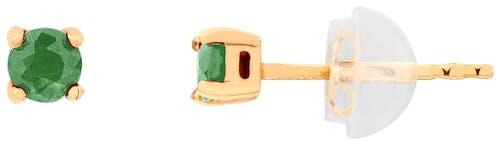 Ces Boucles d'oreilles CLEOR sont en Or 375/1000 Jaune et Emeraude Vert