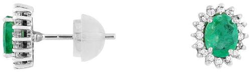 Ces Boucles d'oreilles CLEOR sont en Or 375/1000 Blanc, Oxyde et Emeraude Verte