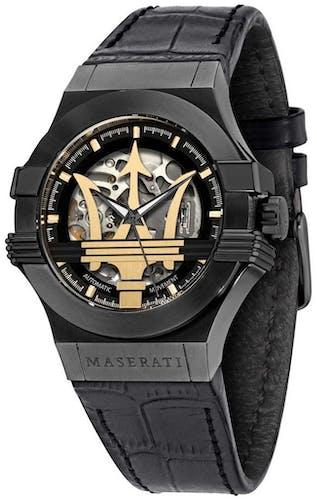 Cette montre automatique MASERATI se compose d'un boîtier Rond de 42 mm et d'un bracelet en Cuir Noir