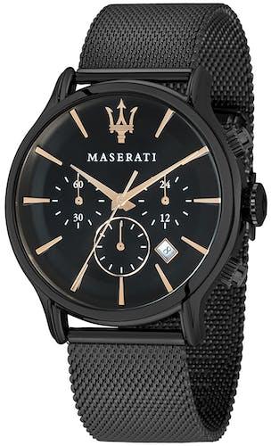 Cette Montre pour Homme MASERATI se compose d'un Boîtier Rond de 42 mm et d'un Bracelet en Métal Noir