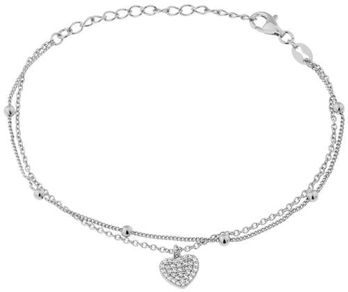 Ce Bracelet CLEOR en forme de Cœur est en Argent 925/1000 et Oxyde