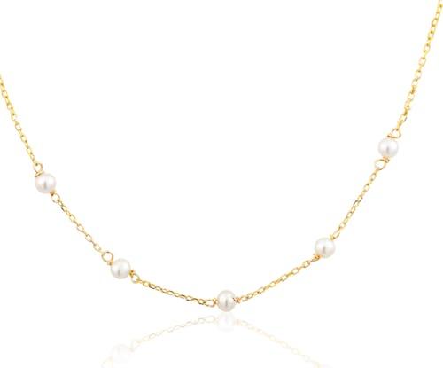 Ce Collier CLEOR est en Or 375/1000 Jaune et Perle de Culture Blanche