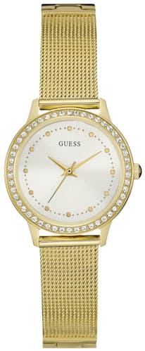 Cette montre GUESS se compose d'un Boîtier Rond de 30 mm et d'un bracelet en Acier Jaune