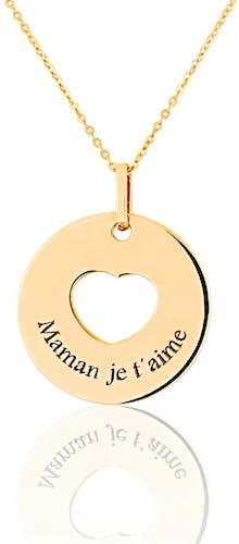 Ce Collier CLEOR est en Or 375/1000 Jaune en forme de Cœur