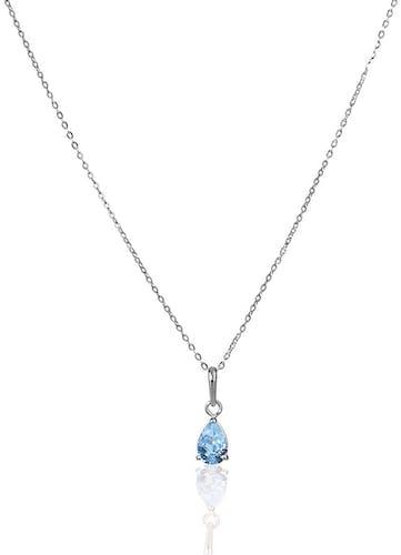 Ce Collier CLEOR est en Or 375/1000 Blanc et Oxyde Bleu