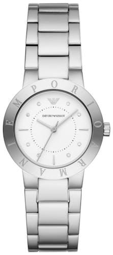 Cette montre EMPORIO ARMANI se compose d'un boîtier Rond de 32 mm et d'un bracelet en Acier Gris