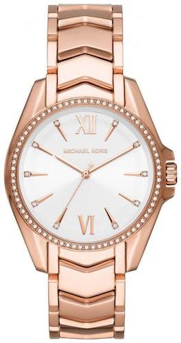 Cette montre MICHAEL KORS se compose d'un boîtier Rond de 38 mm et d'un bracelet en Acier Rose