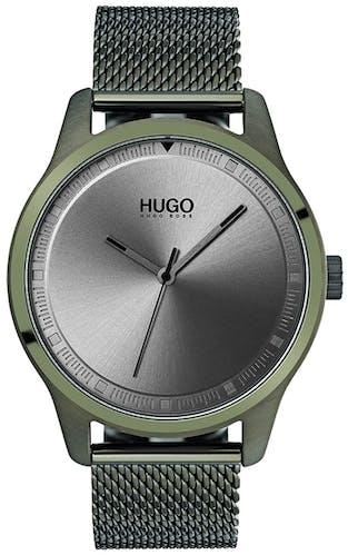 Cette Montre pour Homme HUGO se compose d'un Boîtier Rond de 42 mm et d'un Bracelet en Acier Vert