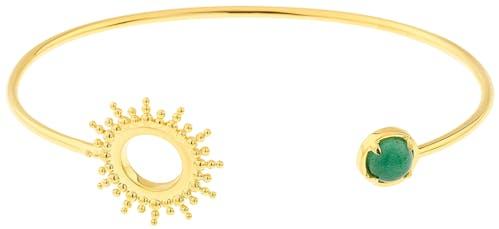 Ce Bracelet YUCATÁN en forme de Soleil est en Plaqué Or et Aventurine