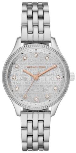 Cette montre MICHAEL KORS se compose d'un boîtier Rond de 36 mm et d'un bracelet en Acier gris