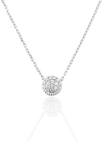 Ce Collier CLEOR est en Or 375/1000 Blanc et Diamant
