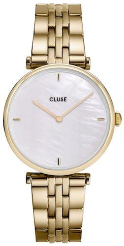 Cette montre CLUSE se compose d'un boîtier Rond de 33 mm et d'un bracelet en Acier Jaune