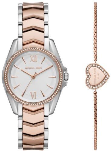 Cette montre MICHAEL KORS se compose d'un boîtier Rond de 33 mm et d'un bracelet en Acier Bicolore