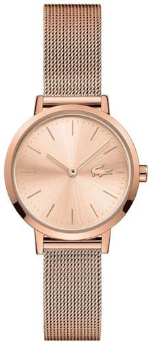 Cette montre LACOSTE se compose d'un boîtier Rond de 28 mm et d'un bracelet en Acier Maille milanaise Rose