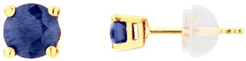 Ces Boucles d'oreilles CLEOR sont en Or 375/1000 Jaune et Saphir Bleu